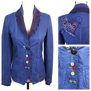 Desigual Fitted Embroidered Front Pockets Blazer